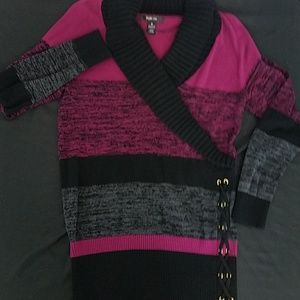 Style & Co Sweater Striped Long Sleeve Pink Black